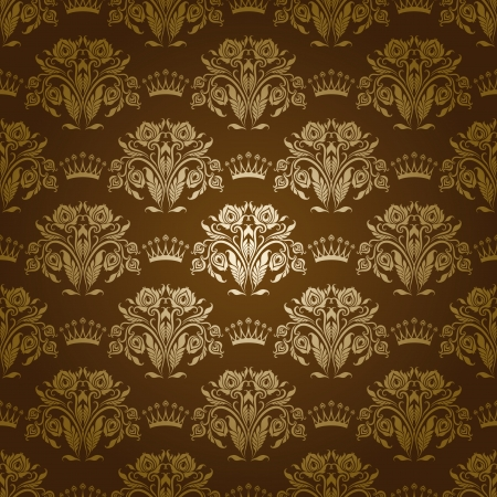 Damask seamless floral pattern  Royal wallpaper  Flowers and crowns on a olive background   Vector
