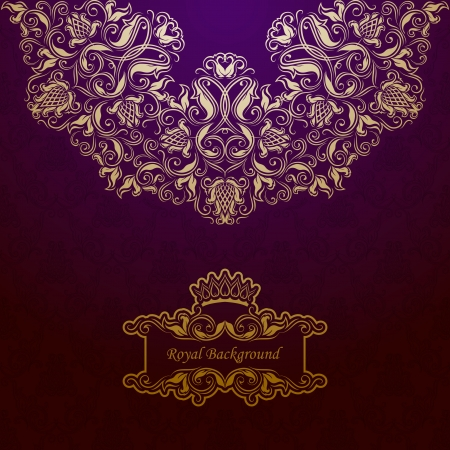 Elegant golden frame banner with crown on the ornate background  Vector