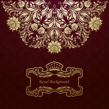 royal rich style: Elegant golden frame banner with crown on the ornate background