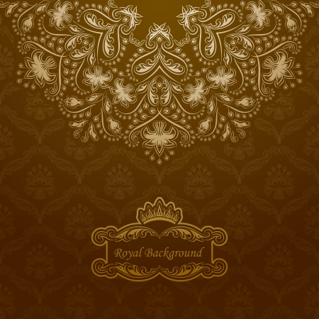 Elegant golden frame banner with crown on the ornate background.  Stock Vector - 15735100