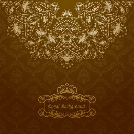 Elegant golden frame banner with crown on the ornate background. Stock Vector - 15735100