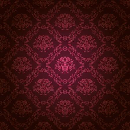 ダマスク織のシームレスな花柄、暗い背景上のロイヤルの壁紙の花 写真素材 - 15793188