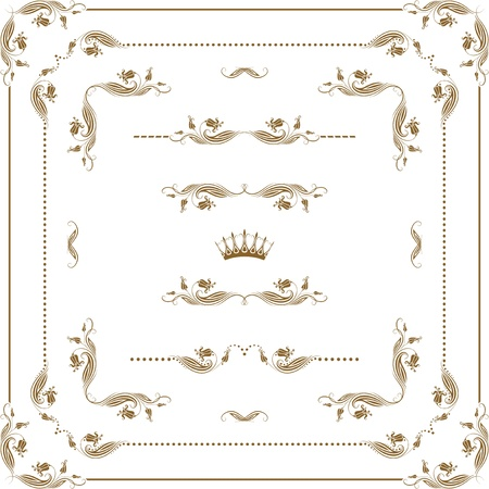 set of decorative horizontal elements, border and frame   Page decoration Stock Vector - 15793190