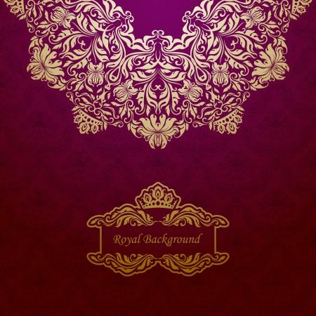 Elegant gold frame banner with crown, floral elements  on the ornate background