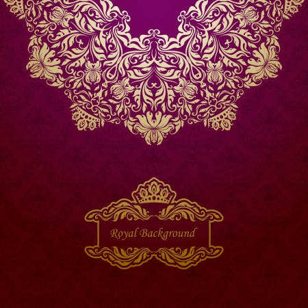 Elegant gold frame banner with crown, floral elements  on the ornate background   Vector