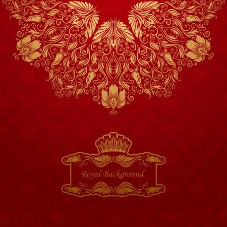 Elegant gold frame banner with crown, floral elements  on the ornate background Stock Vector - 15890005