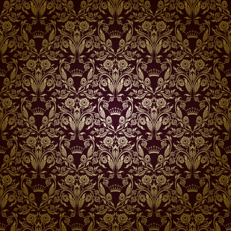 Damask seamless floral pattern  Royal wallpaper  Flowers on a dark background Stock Vector - 15890007