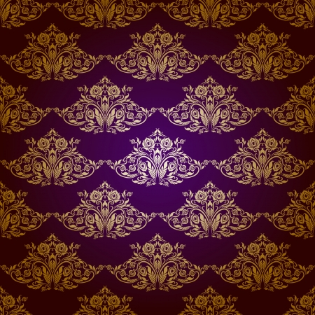 Damask seamless floral pattern  Royal wallpaper  Flowers on a purple background   Stock Vector - 15890006