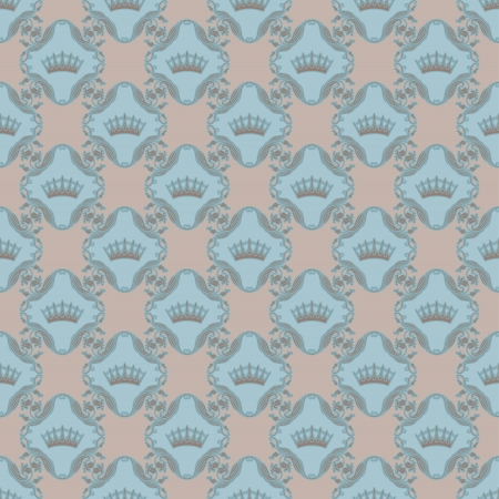 Seamless damask pattern on a beige background  Royal wallpaper   Vector