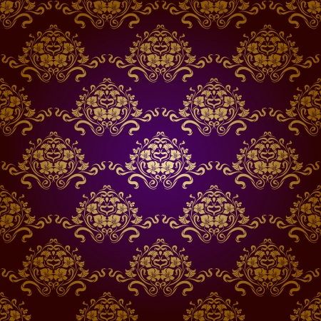 Damask seamless floral pattern  Royal wallpaper  Flowers on a purple background  EPS 10 Stock Vector - 15979427