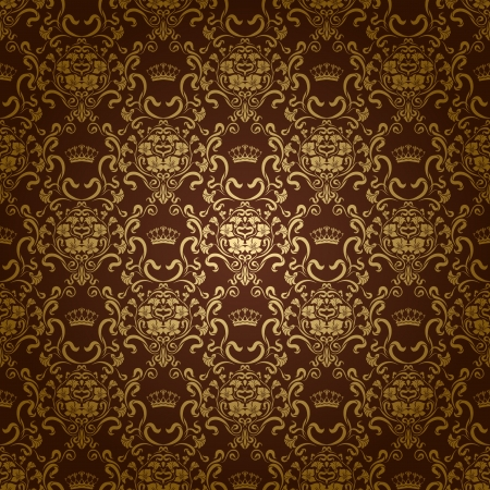 Damask seamless floral pattern  Royal wallpaper  Flowers and crowns on a dark background  EPS 10