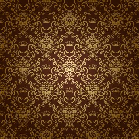 papel tapiz: Damask seamless floral pattern Royal Flores de papel tapiz y las coronas sobre un fondo oscuro EPS 10