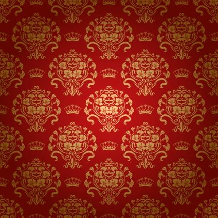 ダマスク織のシームレスな花柄ロイヤルの壁紙の花と赤い冠背景 EPS 10 写真素材 - 15979428