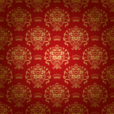 Damask seamless floral pattern  Royal wallpaper  Flowers and crowns on a red background  EPS 10
