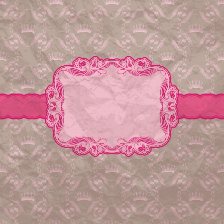 Template frame design for greeting card   Crumpled paper background  Vector