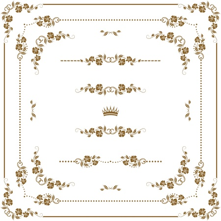 set of gold decorative horizontal elements, corners, borders, frame, crown   Page decoration Stock Vector - 16062398