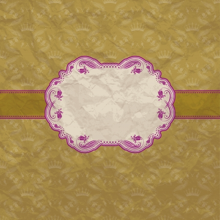 Template frame design for greeting card   Crumpled paper background  Vector illustration Vector