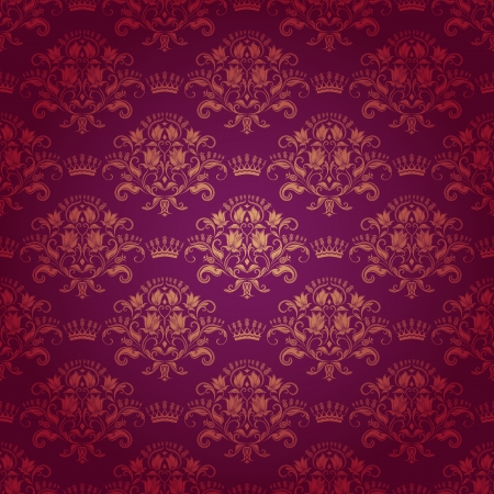 classy background: Damask seamless floral pattern  Royal wallpaper  Flowers and crowns on a red background