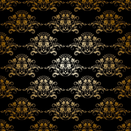 Damask seamless floral pattern  Royal wallpaper  Flowers on a dark background   Vector