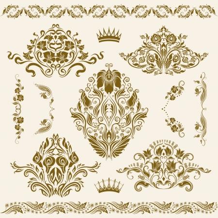 Set of damask ornaments  Floral elements, borders, corners for design  Page decoration