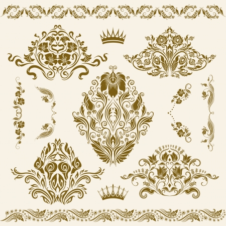 Set of damask ornaments  Floral elements, borders, corners for design  Page decoration  Vector