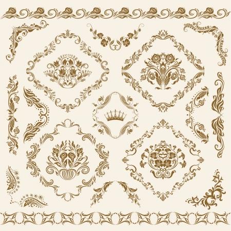 brocade: Set of damask ornaments  Floral elements, borders, corners for design  Page decoration