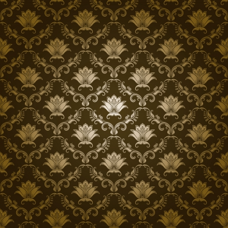 Damask seamless floral pattern  Royal wallpaper  Flowers on a green background  イラスト・ベクター素材