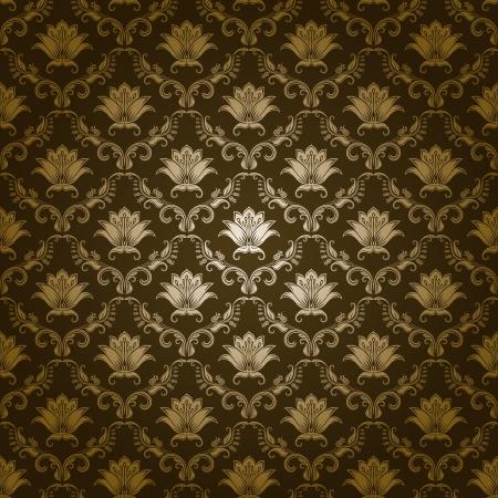 arabesque wallpaper: Damasco senza soluzione di continuit� floreale modello Reale Fiori carta da parati su uno sfondo verde
