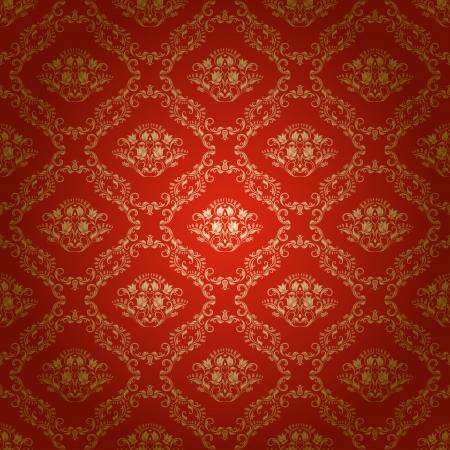 ダマスク織のシームレスな花柄ロイヤルには明るい背景の壁紙の花 写真素材 - 16529660