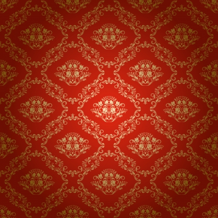 arabesque wallpaper: Damasco senza soluzione di continuit� floreale modello Reale Fiori carta da parati su uno sfondo luminoso