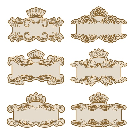 Set of ornate floral vector frames with crowns for invitations or announcements  In vintage style  Vector