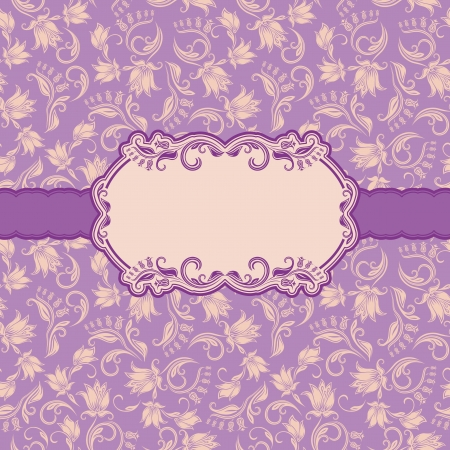 lilac background: Template frame design for greeting card   Seamless background  Vector illustration