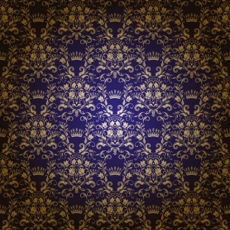 Damask seamless floral pattern  Royal wallpaper  Flowers and crowns on a dark background  EPS 10 Vector