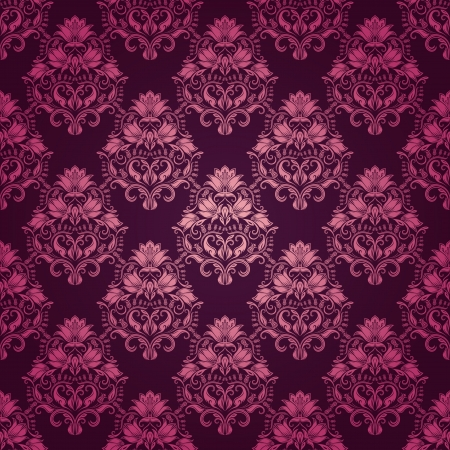 Damask seamless floral pattern  Royal wallpaper  Flowers on a purple background Vector