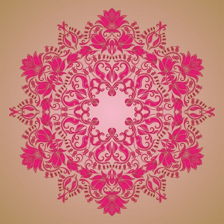 antique asian: Ornate round lace pattern, circle background with floral details  Vintage lace ornament
