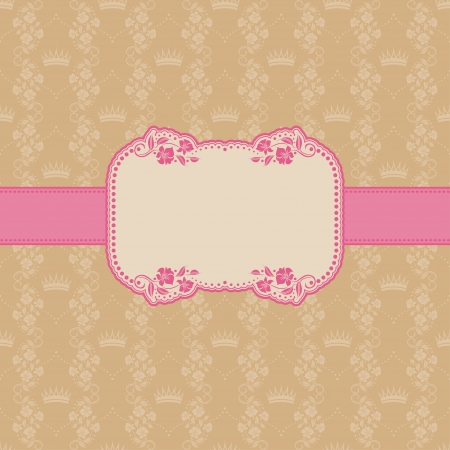 Vector template frame design for greeting card   Background - seamless pattern  Vector
