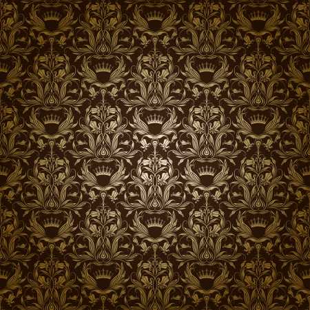 Damask seamless floral pattern  Royal wallpaper  Flowers and crowns on a dark background  EPS 10 Stock Vector - 17169314