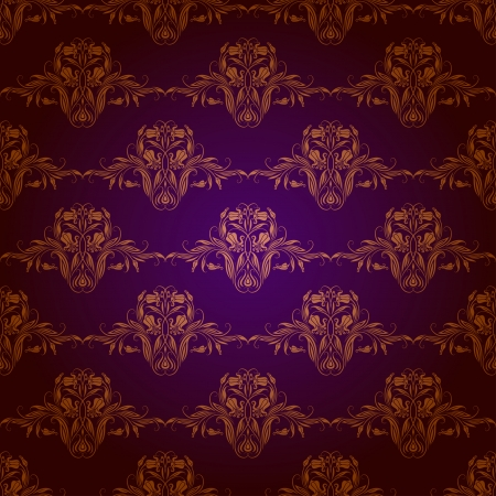 Damask seamless floral pattern  Royal wallpaper  Flowers on a purple background  EPS 10 Stock Vector - 17169311