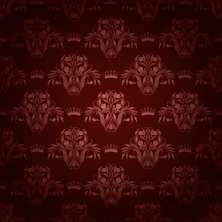 Damask seamless floral pattern  Royal wallpaper  Flowers and crowns on a brown background  EPS 10 Stock Vector - 17169313