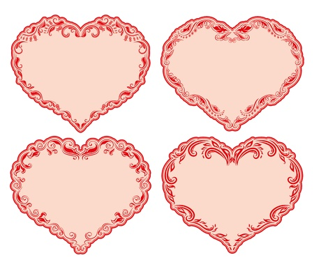 Set of ornate heart frames   Floral vector frames for invitations  Vector