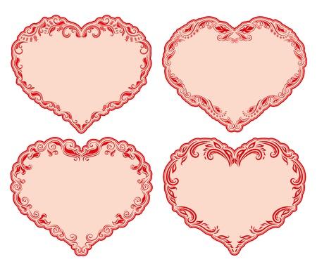 gothic heart: Set of ornate heart frames   Floral vector frames for invitations  Illustration