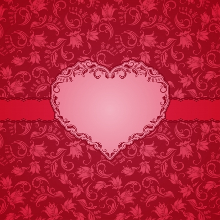 Template frame design for Valentine s Day card   Background - seamless pattern  Illustration