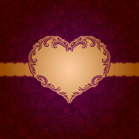 Template frame design for Valentine s Day card   Background - seamless pattern Illustration