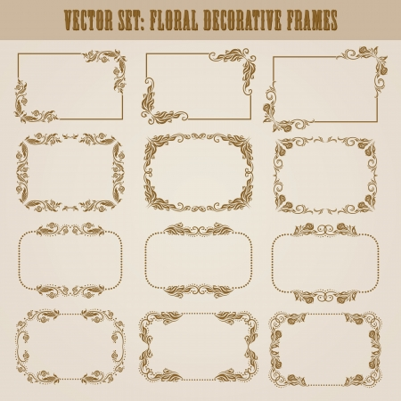 set of decorative ornate border and frame with floral elements for invitations  Page decoration