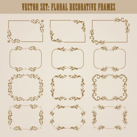 Gothic style: set of decorative ornate border and frame with floral elements for invitations  Page decoration