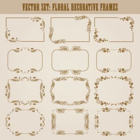 Vector set of decorative ornate border and frame with floral elements for invitations  Page decoration  Vector