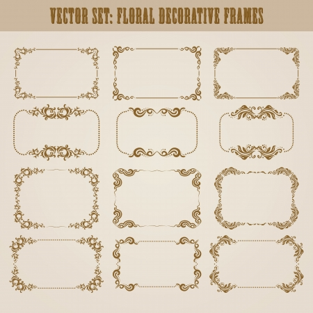 art deco frame: set of decorative ornate border and frame with floral elements for invitations  Page decoration