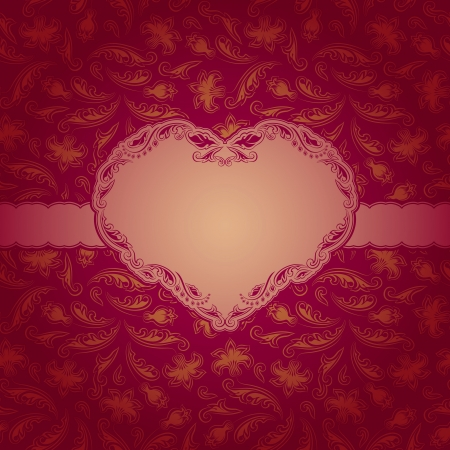 Template frame design for Valentine s Day card   Background - seamless pattern  Vector