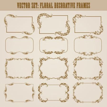 vine art: Vector set of decorative ornate border and frame with floral elements for invitations  Page decoration  Illustration