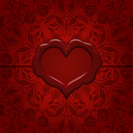 Template frame design for Valentine s Day card   Ornate love letter with wax seal  Ornamental floral background  EPS10 Vector